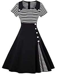 Women's Vintage Contrast Striped Patchwork Buttoned Swing Cocktail Dress