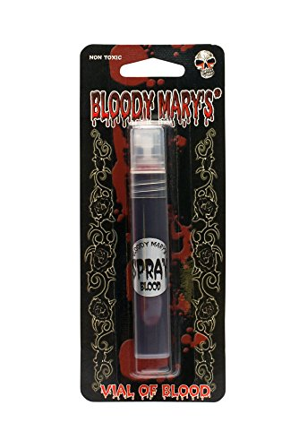 Fake Blood Makeup Spray - 0.25oz - For Theater and Costume or Halloween Zombie, Vampire and Monster Dress Up - By Bloody Mary