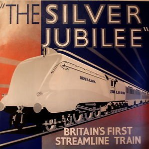 The silver jubilee vintage art deco railway poster poster size a2