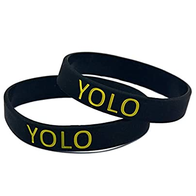 Sxuefang Silicone Bracelets With Logo Yolo Means You Can Live Just For Once Rubber Wristbands For Men And Kids Encouragement Set Pieces Estimated Price £29.99 -