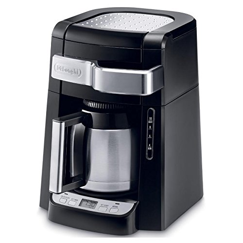 Delonghi 10 Cup Programmable Auto Drip Coffee Maker with Thermal Carafe & Aroma Button, Pause and Serve Function with Built-In Warming Tray and Digital Timer