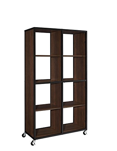 Altra Mason Ridge Mobile Bookcase/Room Divider with Metal Frame, Cherry/Black (Rolling Bookshelf)