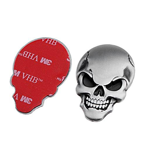 Bone Silver Metal (2X 3D Chrome Silver Bone Demon Emblem Metal Skull Sticker Decal Badge Side Mirror Tank Car SUV Pickup Truck)