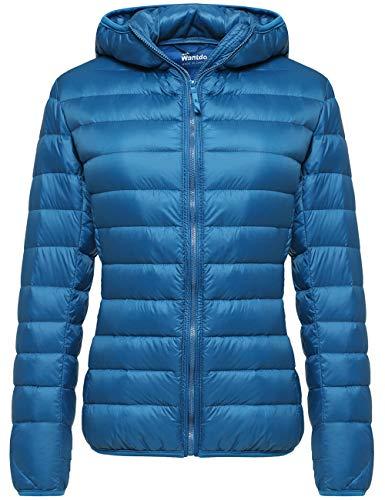 Wantdo Women's Hooded Packable Ultra Light Weight Down Coat Short Outwear(Acid Blue,US Medium)