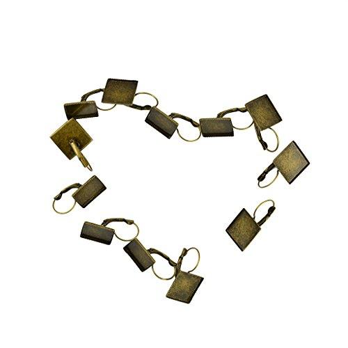 Jili Online Dangle Earring Blanks Base 16mm Pad Square Bezel Setting Vintage Bronze Jewerly Findings 12-Piece