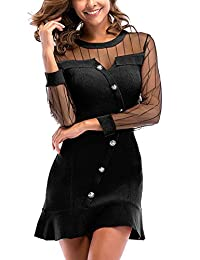 Kelice Womens Dress Mesh Sheer Patchwork Button Up Ruffle Bodycon Dresses