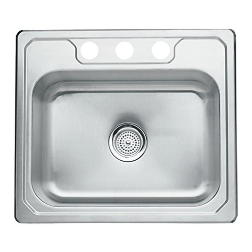 Sterling 14710-3-NA Middleton 25-inch by 22-inch Top-mount Single Bowl Kitchen Sink, Stainless Steel (22 Single Mount Top)