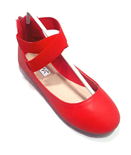 Anna Girl Kids Dress Ballet Flat Elastic Ankle Strap Ballerina Shoes