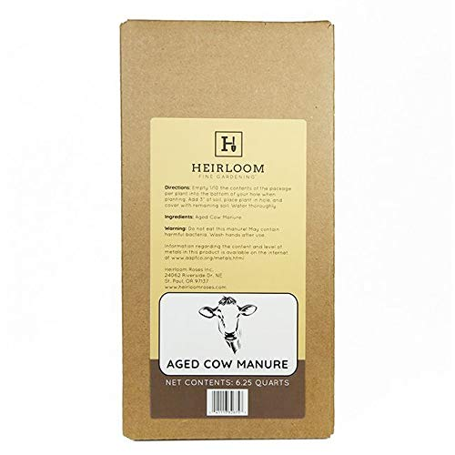 100% Natural Aged Cow Manure, 6.25 Quart Box by Heirloom Fine Gardening (Best Manure For Roses)