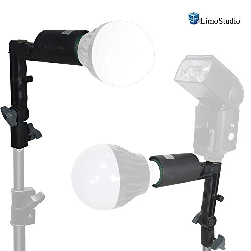 LimoStudio 2 Packs of Single Head Photo Bulb Socket with Flash Bracket E26 Standard Base Size, Flash Lock Button, Umbrella Reflector Insert, AGG2052 by LimoStudio