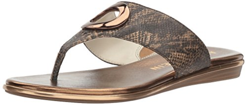 Anne Klein Women's Gia Reptile Flip-Flop, Light Bronze, 9 M US by Anne Klein