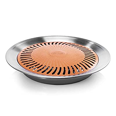 Gotham Steel As Seen on TV, Dishwasher Safe, Ultra-Durable Aluminum Titanium Ceramic, Easy to Clean 13-Inch Nonstick Smokeless Stovetop Grill Pan in Copper/Silver