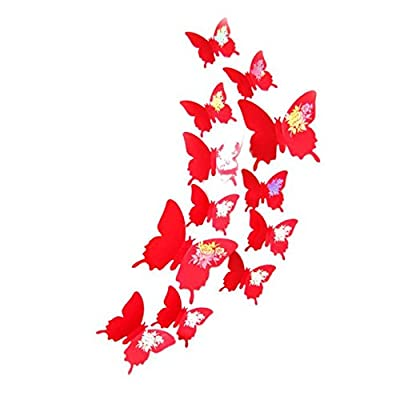 WOCACHI Wall Stickers Decals Wall Stickers Decal Butterflies 3D Wall Art Home Decors Red Art Mural Wallpaper Peel & Stick Removable Room Decoration Nursery Decor: Home & Kitchen