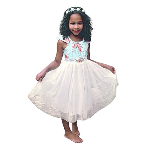 Malada Toddler Infant Child Girls Sleeveless Dress Floral Splice Yarn Layered Sundress (4T, (Crew Screen Print Jersey)