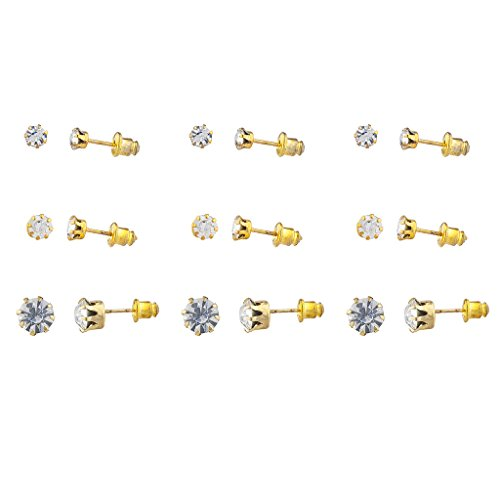 Lux Accessories Gold Tone Faux rhinestone Solitaire Stud Multi Earring Pack 9PCS