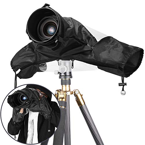 Neewer Pro Camera Rain Cover Shield Coat Protector Sleeve Dust-Proof Waterproof Nylon Rainwear for Large Canon, Nikon, Sony, Pentax, Sigma, Tamron and Other DSLR Cameras (Black (Waterproof Camera Cover)