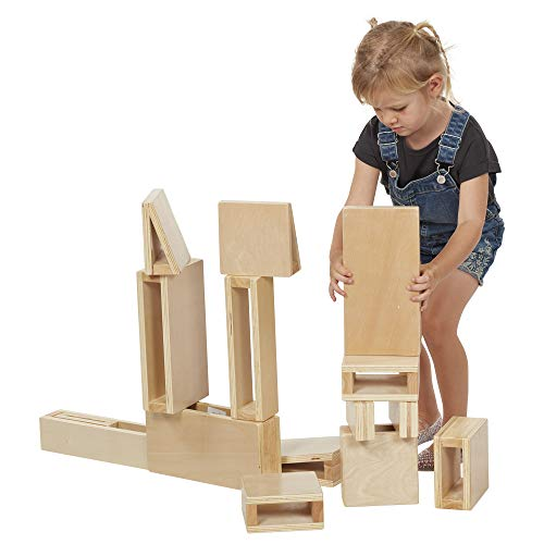 ECR4Kids Junior Hollow Block Play Set,Lightweight Wooden Building Blocks for Kids' Play, Educational Toy with Assorted Shapes, Natural Finish (16 Pieces) (Mini Hollow Blocks)