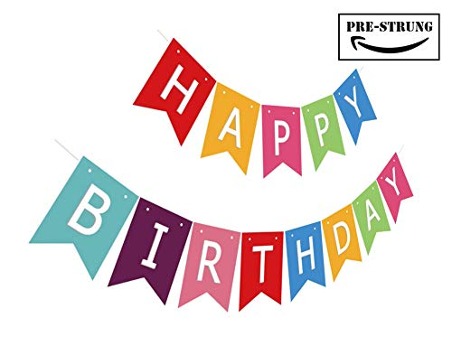 Silvima Ready to Hang Happy Birthday Banner Bunting | Pre-Strung Multiple Color Bday Sign, Colorful Party Decoration -