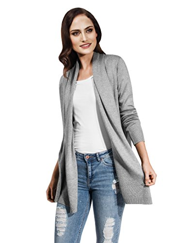 Cashmere Extra Long Cardigan - Vincenzo Boretti Woman's open, long Cardigan,grey,X-Small