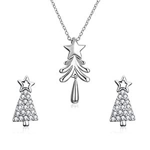 NASAMA Christmas Tree Pendant Necklace Handmade Christmas Studs Earrings Jewelry Gifts for Girls Women (Necklace/Stud Earring)