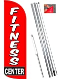 Vista Flags Fitness Center Windless Feather Banner Flag Kit (Flag, Pole, Ground Mt) For Sale