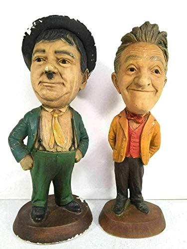 PHOENIX FINDS TREASURES Esco Productions for Vintage Stan Laurel Oliver Hardy Chalkware Statues Made in USA