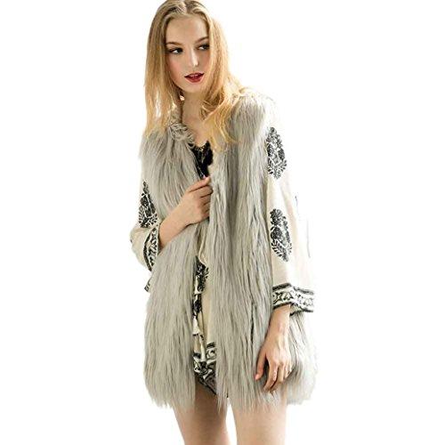 FEITONG mujeres Sin mangas chaleco largo prendas de vestir exteriores del escudo Chaqueta de pelo largo 5 colores Gris