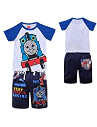 Indepence Life Boys' 2-Piece Thomas and Friends Train Short Sleeve T-Shirt with Pant Toddler Cartoon Clothes Set