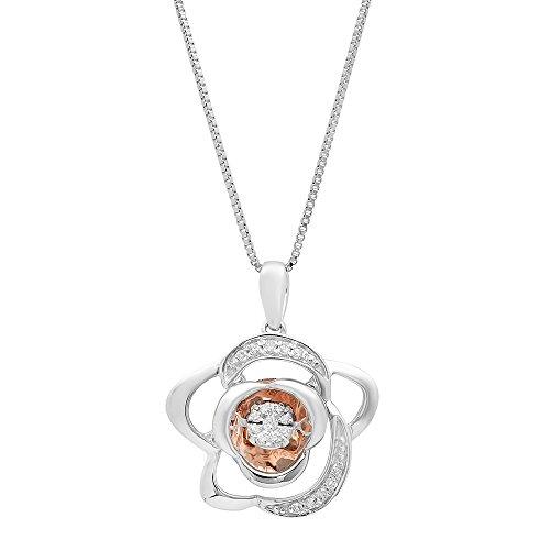 Sterling Silver and 10k Rose Gold Dancing Diamond Pendant Necklace (1/10 cttw, J-K Color, 12-13 Clarity) ()