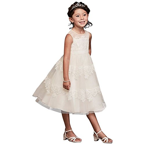 David's Bridal Banded Lace Illusion Flower Girl/Communion Dress Style WG1374, Ivory, 10 by David's Bridal