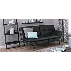 Mainstay Memory Foam Futon Sofa Sleeper Black PU