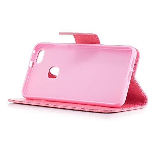 YAJIE-Carcasa Funda Para Huawei P10 Lite Case, [Oso de peluche de dibujos animados en relieve serie] PU funda de cuero con funda protectora con correa / ranura para tarjeta / soporte ( Color : Pink ) Pink