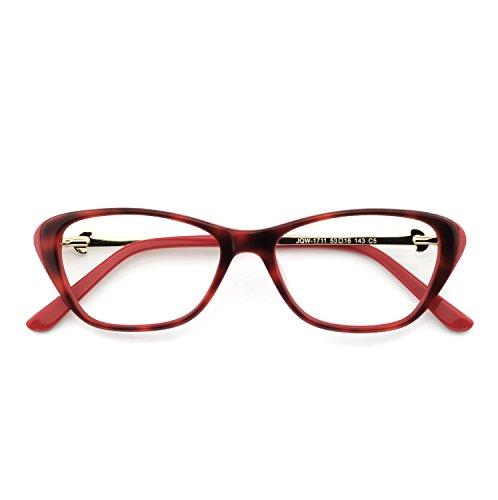 OCCI CHIARI Stylish Women's Eyewear Clear Lens Frame Glasses Samll Circle Non Prescription Eyeglasses (OC7031-C5 Red+Gold) (Red Prescription Frames)