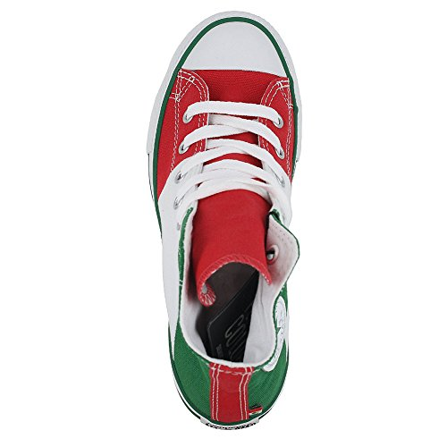 KIDS CONVERSE ALL STAR HI TRI PANEL MEXICO SHOES GREEN WHITE RED SIZE 3 - Image 3