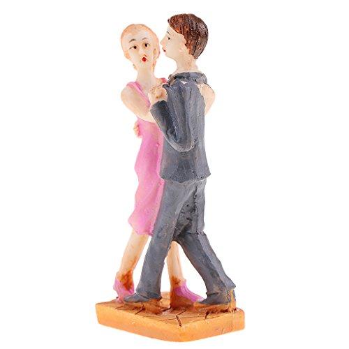 Baoblaze 1 Pair Sweety Lovers Couple Miniatures Fairy Garden Statue Resin Craft (Couple Miniature)