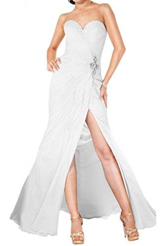 Ranura en forma de corazón de la Toscana totalmente de la novia vestidos de noche encantadora de largo la gasa vestido de fiesta vestidos de bola Prom blanco