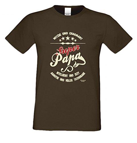 T-Shirt als Geschenk für den Vater - Anmutig voller Tatendrang - Ein Danke für den Super Papa mit Humor zum Vatertag oder einfach so, Größe 4XL Farbe 09-Braun