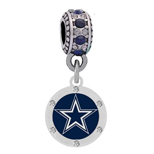Final Touch Gifts Dallas Cowboys Charm with Crystals Fits European Style Large Hole Bead Bracelets