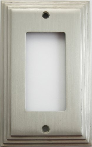 - Satin Nickel Deco Step Style One Gang GFI/Rocker Opening Wall Plate
