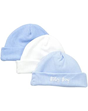 Baby-Boys Newborn 3 Pack Textured Knit Caps