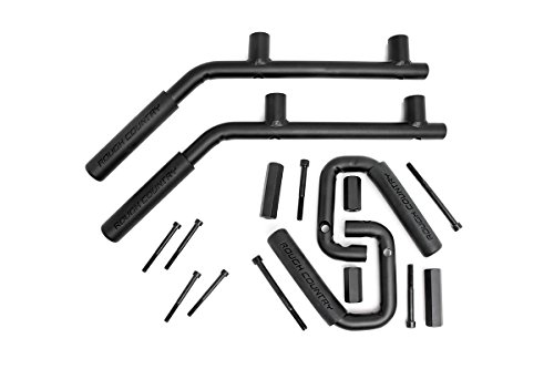 Rough Country - 6503 - Solid Steel Front & Rear Grab Handles (Set of 4) for Jeep: 07-18 Wrangler Unlimited JK 4WD/2WD