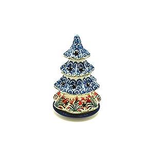 Polish Pottery Christmas Tree Luminary – Medium (7″) – Crimson Bells