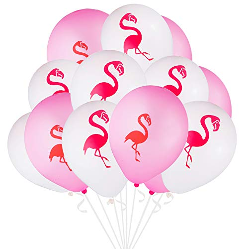 envizins 16 Pieces Pink and White 12 Inch Latex Flamingo Party Balloons with 32' White Roll Curling Ribbon -
