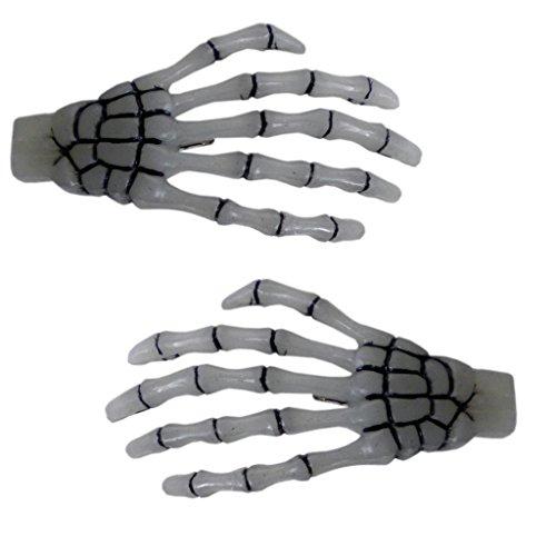 Glow-in-the-Dark Skeleton Hands Hair Clip Halloween Horror Accessory Kreepsville