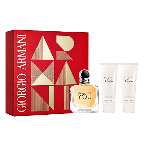 Armani Emporio Because Its You For Women 3 Piece Set 3.4 Oz Eau De Parfum Spray 2 X 2.5 Oz Perfumed Body Lotion