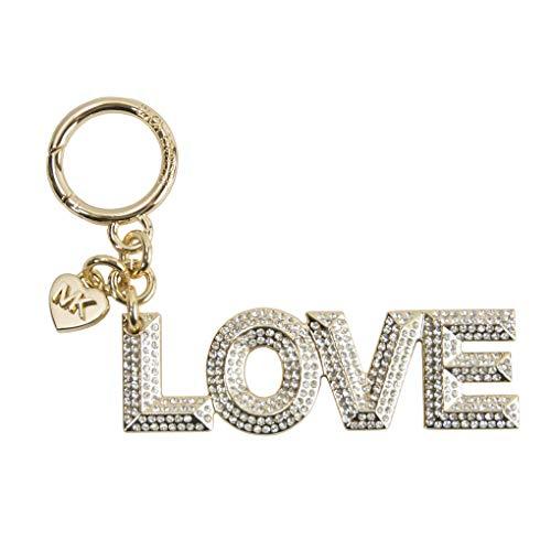 (Michael Kors Gold Tone Pave Crystal Pyramid Stud Love Keychain Bag Charm)