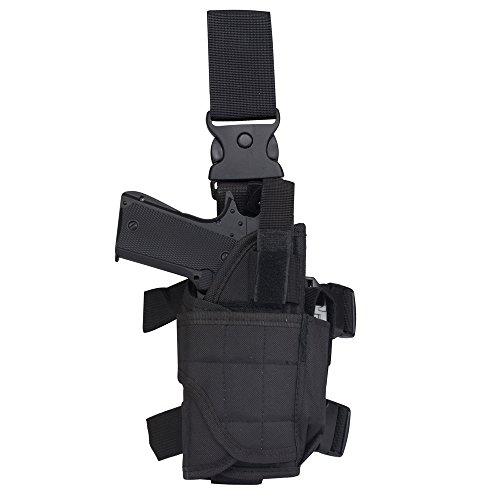 Tactical Leg Holster - Adjustable Pistol Hand Gun Drop Leg Thigh Holster Harness W/ Magazine Pouch Right Handed(Black Right Leg (Colt 45 Hat)
