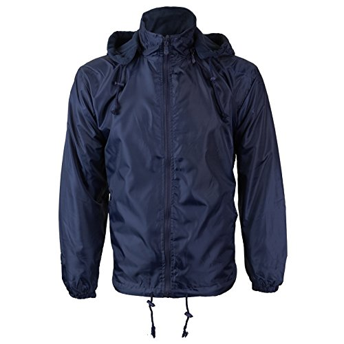 Renegade Men's Reversible Water Resistant Polar Fleece Lined Hooded Rain Jacket (2XL, Navy)