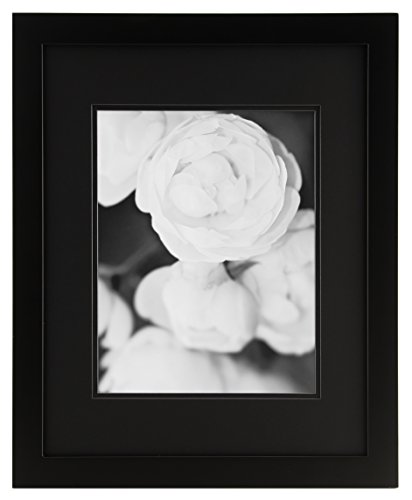 GALLERY SOLUTIONS 16x20 Flat Black Wall Picture Frame with Double Black Mat For 11x14 Image Flat Black Frame