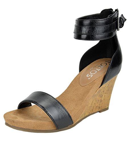 TOETOS Women's Solsoft-5 Black Pu Mid Heel Platform Wedges Sandals - 9 M US